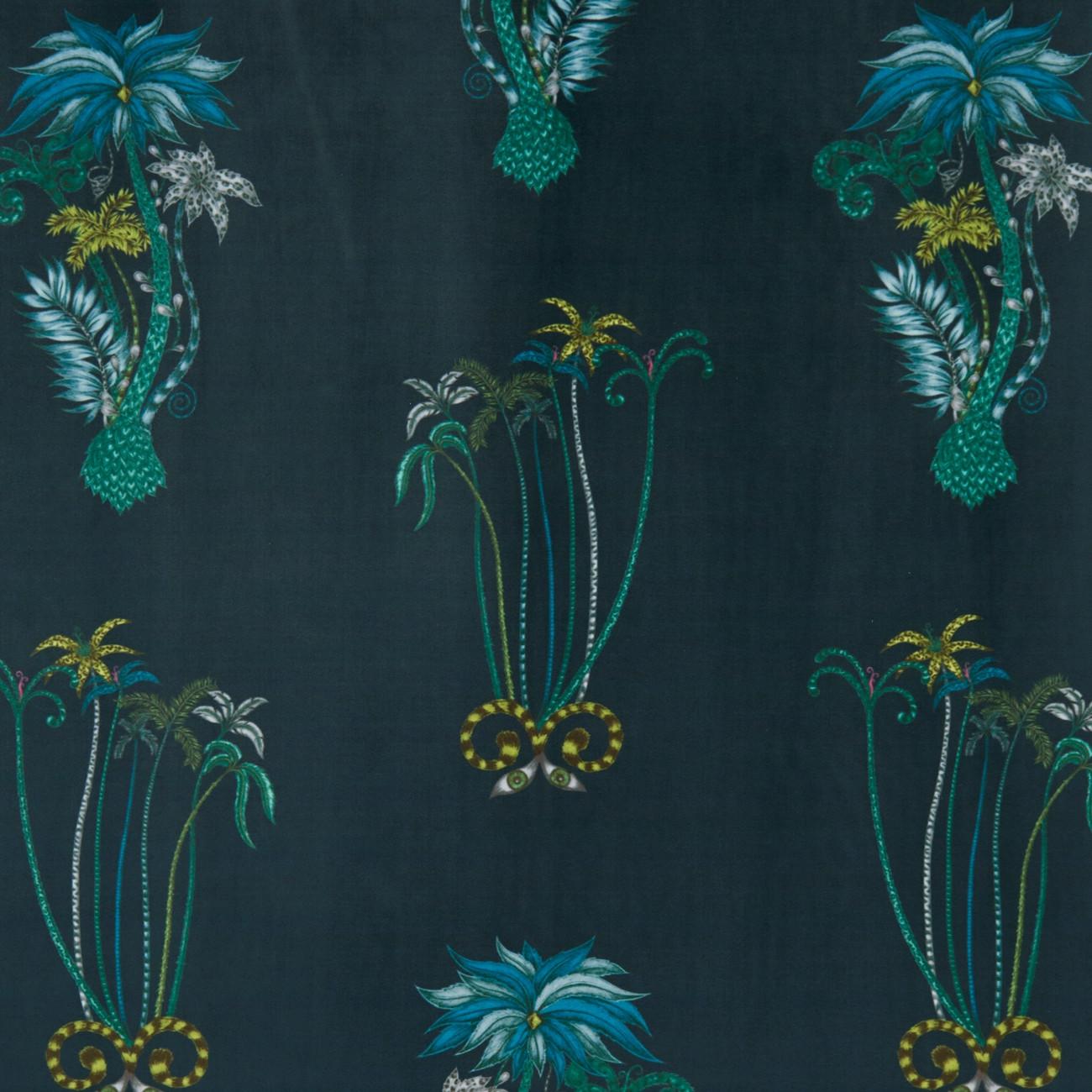 Jungle Palms Navy Velvet